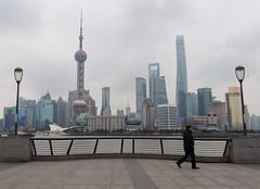 Shanghai Pudong waterfront by Huangpu river (Germn Vogel) Tags: china city travel urban tourism skyline modern skyscraper river waterfront shanghai cloudy pedestrian landmark promenade pudong urbanlandscape thebund huangpu eastasia orientalpearl shanghaitower
