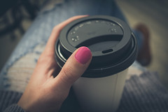 (zoeschexnayder) Tags: pink blue portrait cup coffee girl cafe colorado pretty hand sunny patio jeans hip fingernail
