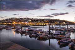 Brixham Harbour (Maw*Maw) Tags: ocean sunset sea water night clouds marina photoshop canon landscape eos evening boat harbour overlay 7d yachts 1022mm hdr brixham