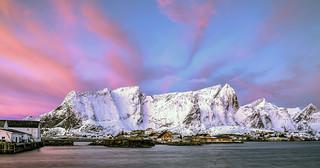 Pink sunrise over Reine
