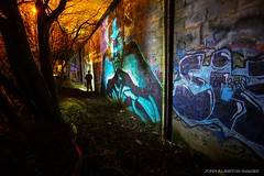 Night In The City Of Secrets (john&mairi) Tags: silhouette night graffiti nocturnal glasgow hidden nighttime figure dreamlike urbex headtorch hallucinatory
