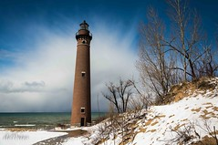 Lake Effect . . . (Dr. Farnsworth) Tags: blue trees red sky lighthouse lake snow brick mi spring ngc fresh lakemichigan silverlake showers fernridge lakeeffect dunegrass littlepointsable aboutyou nationalgeographicgroup perfectphotographer april2016