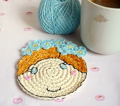 forgetmenot2 (MonikaDesign) Tags: happyface homedecor blueflower tabledecor handstitching lovelyface kitchendecor forgetmenotflower crochetcoaster handmadecoaster monikadesign forgetmenotcoaster