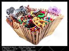 A basket of  fashion accessories  of woman (__Viledevil__) Tags: wood pink blue red woman brown green colors fashion yellow hair basket tie clip bracelet colored ponytail accessories multicolored multi hairpin holder hairband scrunchie hairclip hairtie ponytailholder womanaccessories
