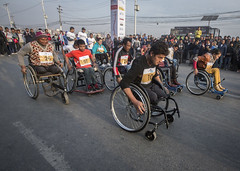 Only a few days after breaking his third chair, Ramesh decided to take part in a 3km wheelchair race in the city (Handicap International UK) Tags: nepal earthquake kathmandu survivors disability