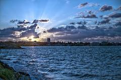 Coucher de soleil sur l'Aiguillon et Arcachon (Denis Vandewalle) Tags: blue sunset sky mer sunlight water clouds soleil coucher soir hdr arcachon ocan