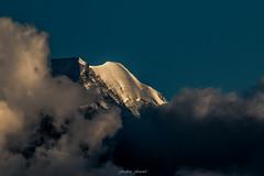 Aiguille du Goter by Night (Frdric Fossard) Tags: montagne alpes lumire altitude ombre glacier ciel nuage paysage soir clart hautesavoie claircie luminosit massifdumontblanc aiguilledugoter