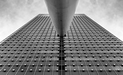 KPN Tower (R. Engelsman) Tags: windows blackandwhite holland building geometric netherlands monochrome lines architecture skyscraper rotterdam zwartwit nederland kpn kopvanzuid 010 architectuur wilhelminaplein geometrie wilhelminapier kpntower
