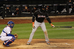 There is a Miami player under all the clothing.....it's Giancarlo Stanton (Hazboy) Tags: new york nyc ny game sports field sport baseball queens april mets mlb citi flushing beisbol 2016 hazboy hazboy1