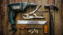 Tools (Bartholomew K Poonsiri) Tags: stilllife hammer work indoor device equipment repair tool knut drill screwdriver sonyilce6000
