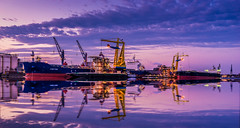 Port activity (Explored 29-4-2016) (mcalma68) Tags: longexposure amsterdam port reflections ship waterfront bluehour