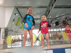 Isaac and Liam ready to jump into the pool (avlxyz) Tags: swimming isaac liam fb4