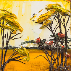 LS12X12-2016-124 (Justin Gaffrey) Tags: trees brown lake art nature yellow painting gold florida wildflowers acrylicpaint 30a lakescape sowal justingaffrey