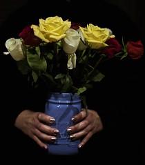 A Jar of Color (chasehorning) Tags: blue black color hands metallic jar grasp