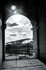 View from Colosseum to Forum Romanum (memories-in-motion) Tags: old italien trees italy white black rome roma history clouds mono europe view stones alt 28mm wolken scene historic colosseum steine outlook gr aussicht f71 bäume rom ricoh ricohgr buildung gegenlicht forumromanum antik iso250 11600sec