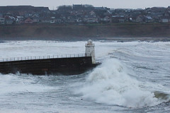 Storm wave, Wick lighthouse pier. (Shandchem) Tags: storm bay scotland waves harbour gale wick caithness
