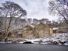 Winter Mill (Johnners61) Tags: helmshore haslingden rossendale lancashire uk england britain mill textilemuseum museum winter snow ice lodge pond pool tree trees history historic heritage industry industrial landscape microfourthirds micro four thirds mft m43 olympus pen epm2 olympuspen panasonic lumix johnhartley johnners61 frost frozen olympusepm2