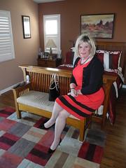 Wear red day (krislagreen) Tags: red black belt pumps highheels dress cd tgirl transgender transvestite crossdress tg cardi patent feminization feminized