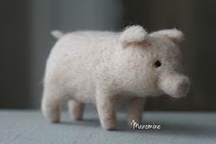 Quin (miaki) Tags: felted toy pig miniature handmade mini puglet needlefelted needlesculpting manomine