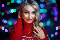 Olya (Vendigo) Tags: christmas new winter red portrait people cold color sexy girl beauty night outdoors bokeh year young garland blonde pullover strobism