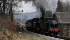 LNWR Webb 0-6-2 Coal Tank No. 1054 (1888) and Class 02 Taff Vale Tank No. 85 (1899) storm past Vale Mill Oakworth with the Afternoon Express on 27th February 2016 KWVR Gala  (steamdriver12) Tags: winter storm cold west heritage mill afternoon tank no smoke yorkshire railway class steam vale riding 02 valley oil worth express preserved february coal taff past gala 85 dull webb 27th 062 kwvr 2016 1054 oakworth lnwr kieghley