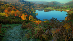 A View of Grasmere (Andy Watson1) Tags: park uk trip travel november autumn trees light shadow england lake mountains colour english fall water canon woodland landscape countryside scenery village looking view britain terrace path district grasmere united great lakedistrict scenic sigma kingdom national cumbria british fell pathway ambleside loughrigg 70d loughriggterrace