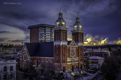 A Little Churchy (giberin) Tags: city shadow sky sun cold color rooftop church colors skyline clouds composition canon photography photo spokane pretty cityscape religion creative r pacificnorthwest coldweather redemption adifferentpointofview