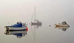 Boats in the mist (Andrew Boxall) Tags: morning england seascape west misty fog reflections landscape boats sussex coast south january foggy quay dell yachts pleasure 2016