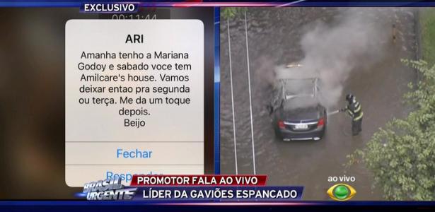 """Datena usa celular no """"Brasil Urgente"""", mas deixa mensagem particular vazar"""