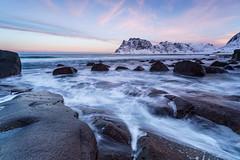 Sunrise at Utakliev Beach (surfer623) Tags: zeiss rocks makro myrland uttakliev lofotenislands2016sonya7rii
