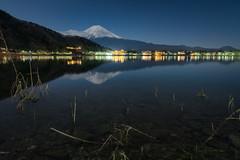 Midnight Traanqulity (Yuga Kurita) Tags: lake nature japan reflections landscape fuji mt mount fujisan moonlight kawaguchi kawaguchiko fujiyama