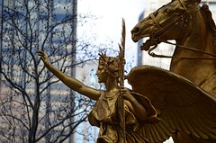 Guiding Angel (pjpink) Tags: park nyc newyorkcity winter sculpture horse newyork statue angel gold centralpark february sherman 2016 gaudens williamtecumsehsherman augustusstgaudens pjpink