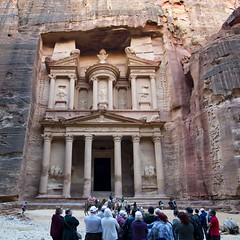 The Treasury Monument at Petra - Jordan. (hanna_astephan) Tags: travel sculpture heritage history tourism architecture sand ruins desert petra treasury tourists unesco jordan jordanien jordania sigmalens rocksformation nabateaen nikond3100
