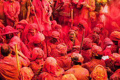 Holi 2016 (Gowtham Raj gr) Tags: red portrait india colors colours culture tradition holi lathmar holi2016