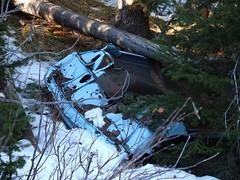 Wir waren verdutzt ein Wrack so weit - etwa 5 km -  von der Straße im Wald zu finden. (benlarhome) Tags: canada kananaskis alberta kanada prairiecreek threetrailpass