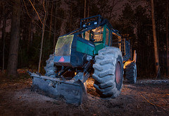 Bendor Graves (waterfallout) Tags: ontario canada lightpainting night forest forestry logging machine environmental machinery paintingwithlight vehicle environment nightphoto forests conservationarea lightpainted forested forwarder cuttolength loggingmachine cuttolengthlogging