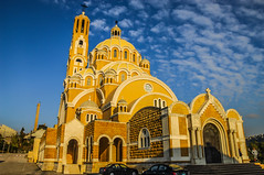 Sts. Peter and Paul Melkite Catholic Cathedral Close, Harissa Lebanon. (Paul Saad) Tags: blue sunset sea sky lebanon sun mountain pope color colour beach church saint clouds landscape greek temple dawn nikon catholic cathedral outdoor dusk pano hill saints peak panoramic peter hq hdr patriarch harissa jounieh maronite