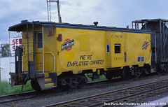 C&NW Caboose 11013  Itasca, WI  June 28, 1977 (Twin Ports Rail History) Tags: chicago history jeff window by wisconsin bay time north machine twin superior rail railway caboose owned western 1977 ports employee itasca lemke cnw
