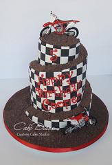 Dirt bike spiral (Cake Diane Custom Cake Studio (eyedewcakes)) Tags: birthday cake spiral carved chocolate moto dirtbike motocross checker sculpted fondant tiered