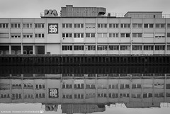 A gloomy Day at the Neckar 2. (andreasheinrich) Tags: blackandwhite cold architecture river germany deutschland march factory gloomy fabrik architektur fluss kalt neckar badenwrttemberg trb blackandwhitephotos neckarsulm schwarzweis kspg nikond7000