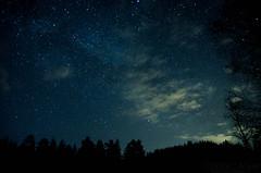 Iridium Flares (Stle Meyer) Tags: longexposure blue trees cloud black tree norway night stars norge nikon nightscape nightshot nightsky akershus milkyway hurdal eidsvoll shootingstar