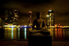 View from the Willemskade waterfront, Rotterdam. 002 (George Ino) Tags: longexposure nightphotography copyright holland netherlands rotterdam waterfront nightscape nightshot kade nederland kopvanzuid hotelnewyork erasmusbrug wilhelminakade nieuwemaas buddhastatue boeddha katendrecht citynightscape availablelightphotography nightcityscape denieuwemaas georgeino georgeinohotmailcom