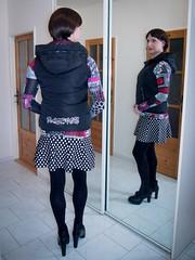 Ready to go? (blackietv) Tags: black mirror down mini skirt crossdressing tgirl transgender transvestite casual vest knitted miniskirt crossdresser