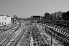 Stazione (Station) (pjarc) Tags: camera city urban bw italy white black station digital lens photo nikon europa europe italia foto zoom perspective trains bologna april binary nikkor aprile stazione macchina 1870mm citt emiliaromagna dx prospettiva binari 2014 treni scatto d40 nofullframe