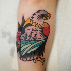 josh leahy tattoo (josh leahy) Tags: flower art ink pattern eagle south traditional australia brisbane clean tradition logan oldskool bold goldcoast tattooist newskool tattooer joshleahy lanternandsparrow