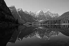 Moraine Lake (ryan.kole32) Tags: travel trees blackandwhite snow canada reflection nature monochrome beauty clouds forest landscape rockies outdoors nationalpark hiking sony perspective shoreline naturallight shore alberta banff rockymountains symetry mirrorimage banffnationalpark morainelake canadianrockies banffalberta beautyinnature sonya77 sonyflickraward