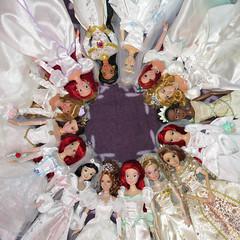 Circle of Brides (Titania1989) Tags: wedding ariel bride store doll jasmine disney aurora belle giselle cinderella tiana snowwhite rapunzel mattel enchanted beautyandthebeast littlemermaid disneystore tangled disneyparks