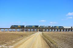 Csx blue on the Henderson Sub. (Machme92) Tags: railroad bridge sky clouds country rail row dirt rails farms dirtroad roads ge railfan railroads csx conrail railroading emd railfanning csxt gevo railfans