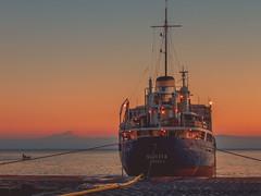 Water supply in Filicudi Island (CyboRoZ) Tags: sunset sea water island twilight eau mediterranean mediterraneo tramonto ship nave sicily acqua etna molo sicilia tanker eolie aeolian crepuscolo cisterna sicile filicudi