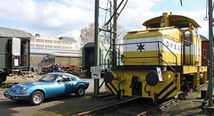 Opel on road and track (The Rubberbandman) Tags: ca old railroad blue adam classic sports car sport museum vintage germany diesel 5 railway loco cargo german dh vehicle 500 gt bochum freight coup opel switcher shunter henschel caoupe dh5400 lococmtive
